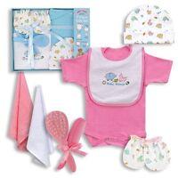 Baby Girl Boys Clothes Shower Gift 7 Piece Set Bodysuit Hat Bib Newborn