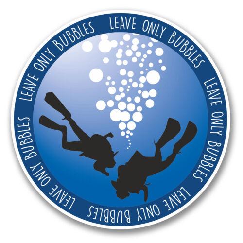 2 x 10cm Scuba Diver Vinyl Decal Sticker Laptop Diving Leave Only Bubbles #6380