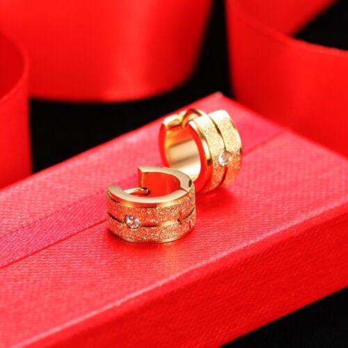 gold silber Damen 13mm Creole Klappcreole Ohrring aus Edelstahl mit Zirkonia
