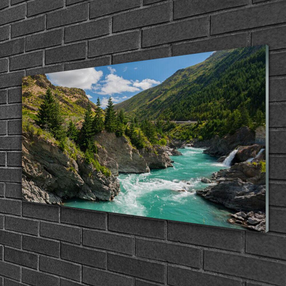 Image sur verre Tableau Impression 100x50 Paysage Rivière Des Montagnes
