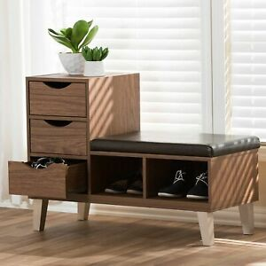 Details About Modern Mid Century Entryway Shoe Storage Bench Seat Hallway Stool Wood Drawer