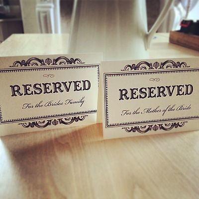 Personalised Wedding Reserved Sign - Vintage/Shabby Chic Style - Ivory