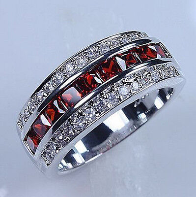 Size 9/10/11 Classic Mens Red Garnet 10KT White Gold Filled Gem Ring Band Gift