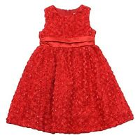Infant Girls 18 M Red Rosette Ribbon Holiday Fancy Christmas Party Dress