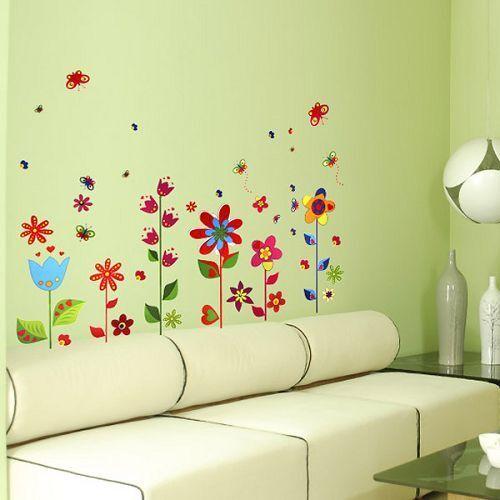LARGE BUTTERFLIES FLOWERS Wall Stickers TRANSPARENT REUSABLE Vinyl Art Decal