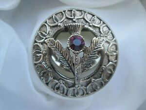 Vintage-Amethyst-Glass-Thistle-Scottish-Silver-Tone-Metal-Signed-Scarf-Clip-Ring