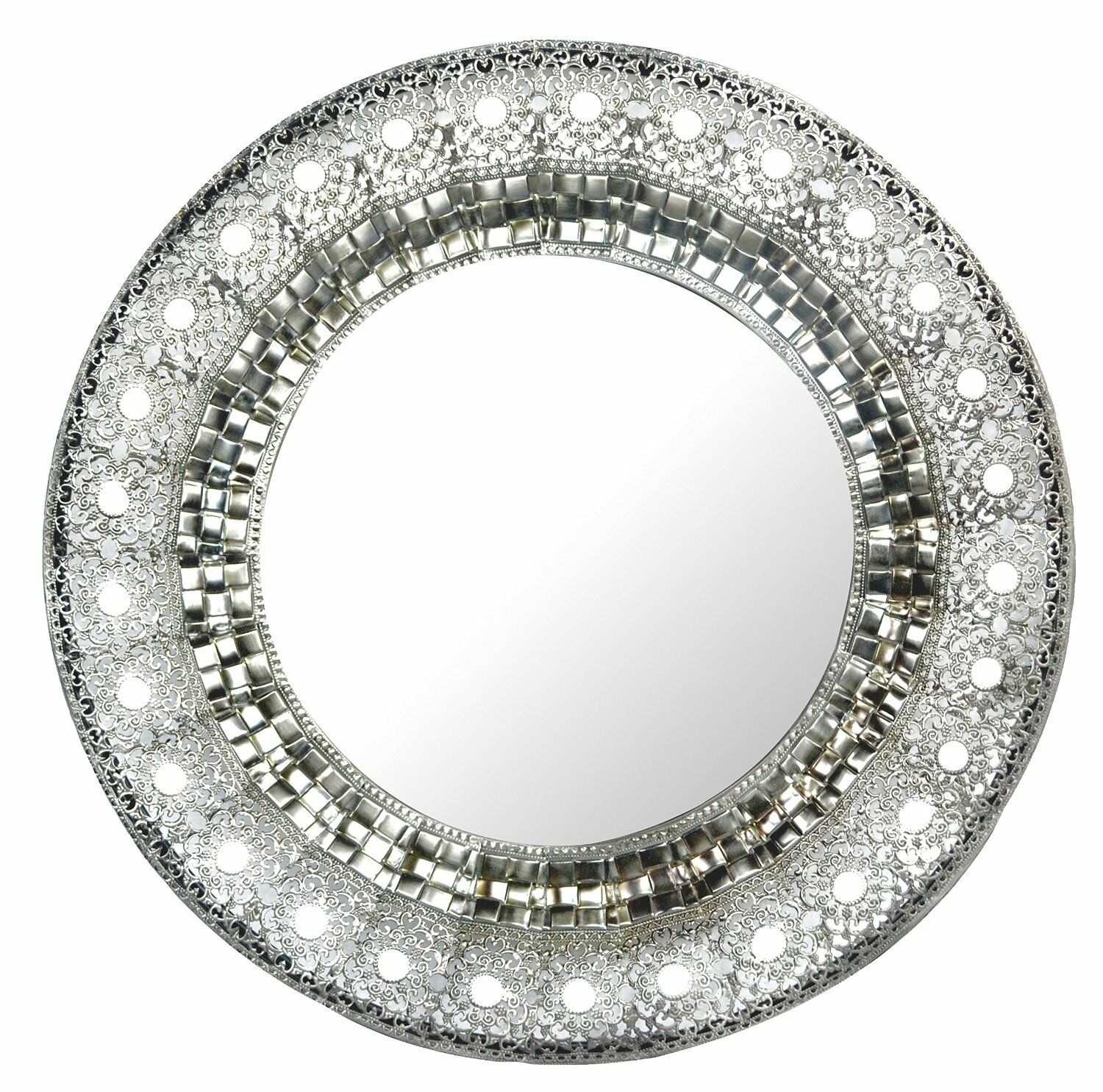lulu decor oriental round silver metal wall mirror frame size 19. Black Bedroom Furniture Sets. Home Design Ideas