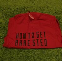 Supreme S/s 2014 Arrested Hooded Shirt White Red Size Small Box Logo