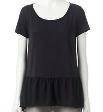 NWT JUICY COUTURE Shift Peplum Top Blouse Black shirt tank solid sz S