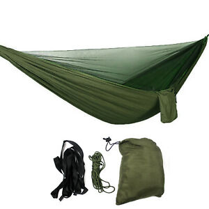 Two Person Double Hammock w/ Mosquito Net Lightweight Camping Bed Hanging Swing