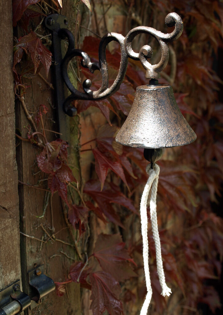 Cat Front Doorbell Door Cast Iron Bell Gate Garden Ornament Kitten House New