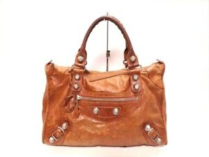 Auth-BALENCIAGA-The-Giant-Work-173080-Brown-Leather-Handbag