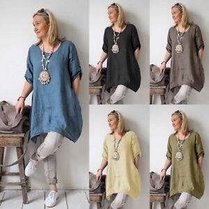 Women-Summer-Style-Feminino-Vestido-Cotton-Casual-Plus-Size-Ladies-Dress-2019-AU