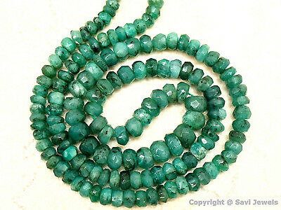 "WHOLESALE EMERALD 3.5-5.5mm Faceted Rondell 14"" Str 50Ctw"