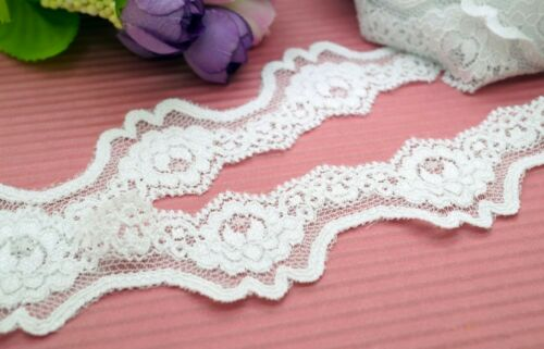 4 Yards White Elastic stretch Fancy Edge Lace Trim ~ Sewing
