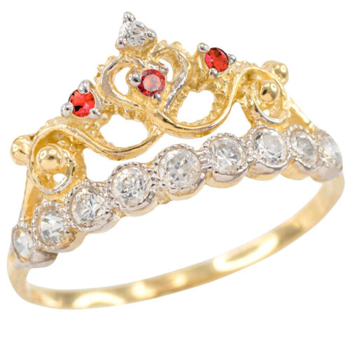 Yellow Gold Quinceañera 15 Años Conora Red /& White CZ Crown Ring