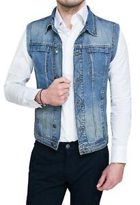 best cheap d6eef 0ce0c Dettagli su Giubbotto smanicato di Jeans uomo Diamond casual slim fit  aderente da XS a XXL