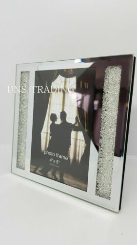 """Crushed Diamond Crystal Frame Mirror and Crystal 4/"""" x 6/"""" Picture Photo Frame"""
