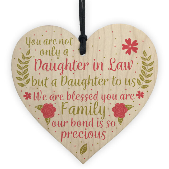 Daughter In Law Plaque Sayings Wooden Heart Birthday Wedding Christmas Gifts For Sale Online