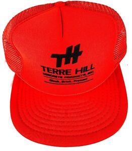 Vintage Terre Hill Orange Trucker Hat Flat Bill Snap Back Skater Hat ... ce8bd20c4a5