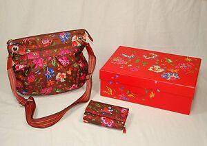 a13252b554531 Das Bild wird geladen Oilily-Tasche-Portemonnaie-Set-Geldboerse-Handtasche- Blumen-braun-