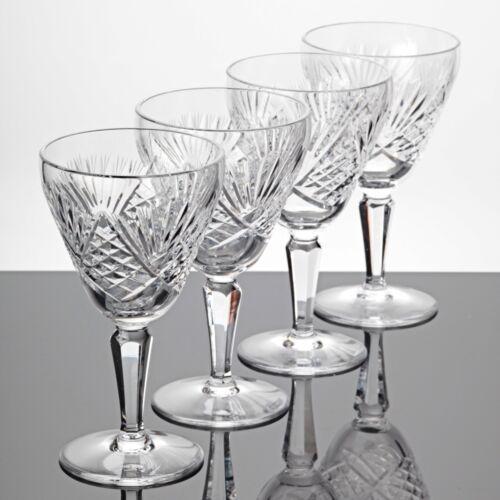 4 Weingläser Weißweingläser Schliff Gravur Strahlen Waffel Vintage Gläser K5