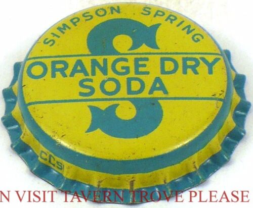 Unused Easton MA 1950s Simpson Springs Orange Dry Soda Cork Crown Tavern Trove
