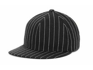 TOP OF THE WORLD new BLANK BLACK PINSTRIPE HIGH CROWN FITTED HAT CAP 7 1/2