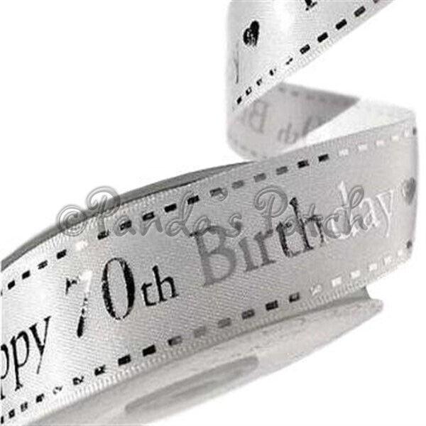 16mm Celebrate Happy 80th Birthday Satin Print Ribbon  Gold /& Grey per ...