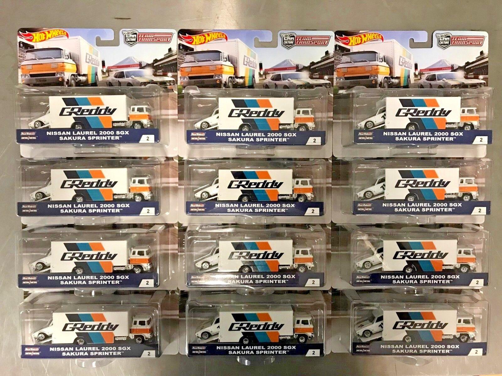 HOT WHEELS LOT OF 12 Team Transport Nissan Laurel 2000 SGX Sakura Sprinter Set