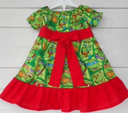 Ninja Turtles Handmade Peasant Dress Birthday Toddler Girls Various Sizes NEW