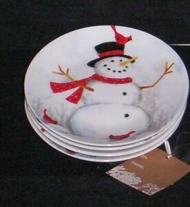 222-FIFTH-Winter-Cheer-Appetizer-Plate-Snowman-Red-Cardinal-Set-of-4