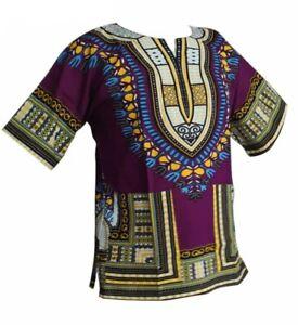 Damen-Herren-Dashiki-Cotton-Mexican-African-Afrikanische-T-Shirt-Hemd-Shirt-Lila