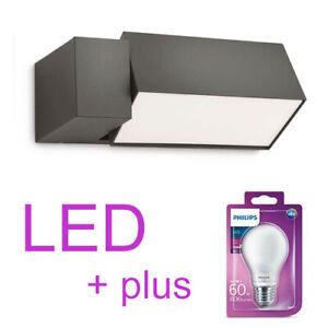 LED-Philips-Wand-Aussenleuchte-Aussenlampe-mit-drehbarem-Lampenkopf-anthrazit