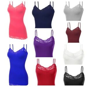 Woman-039-s-Basic-Lace-Trim-Spaghetti-Strap-Cami-Tank-Top-Plain-Camisole-S-3XL