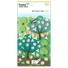 CUTE PEACH TREE FELT STICKERS Fruit Sheet Raised Fuzzy Craft Scrapbook Sticker