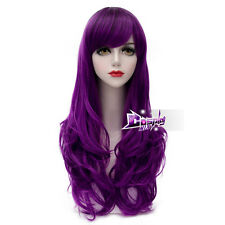 Fashion Black Mixed Dark Purple 65CM Long Curly Lolita Cosplay Wig + Wig Cap