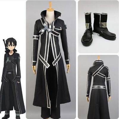 Sword Art Online Kirito Cosplay Costume Outfit Uniform Black Coat Suit Full Set