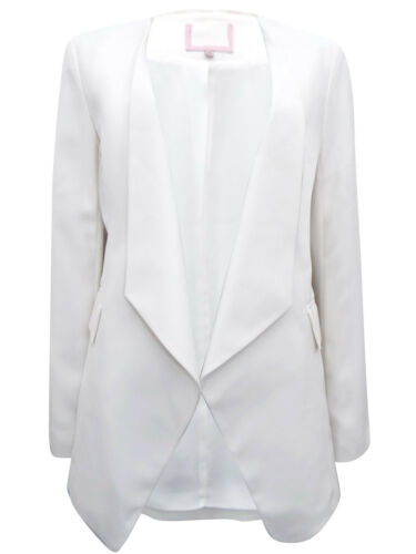 Phase Eight Ivory Crepe Long Line Jacket with Drape Front Orig Price £99