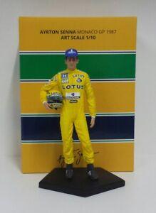 Ayrton Senna Modèle Figure Figurine En Résine Échelle 1/10 Gp Monaco 1987 New