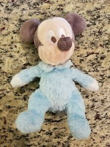 Disney-Plush-Mickey-Mouse-Baby-Rattle-Bell-Light-Blue-Disneyland-Resorts-Stuffed