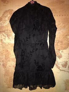 New-with-Tags-Parisian-Black-Flock-Frill-Print-Long-Sleeve-Dress-Size-8