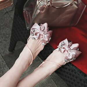 Women-039-s-Fashion-Slingbacks-Sandals-Bowknot-Rhinestone-Pointed-Toe-Flats-Shoes