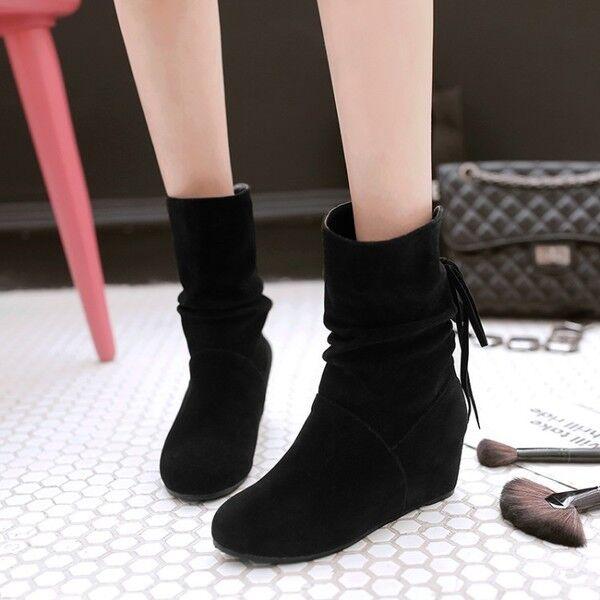botas bajo zapatos cuña 5 cm negro cómodo cómodo como piel 9790
