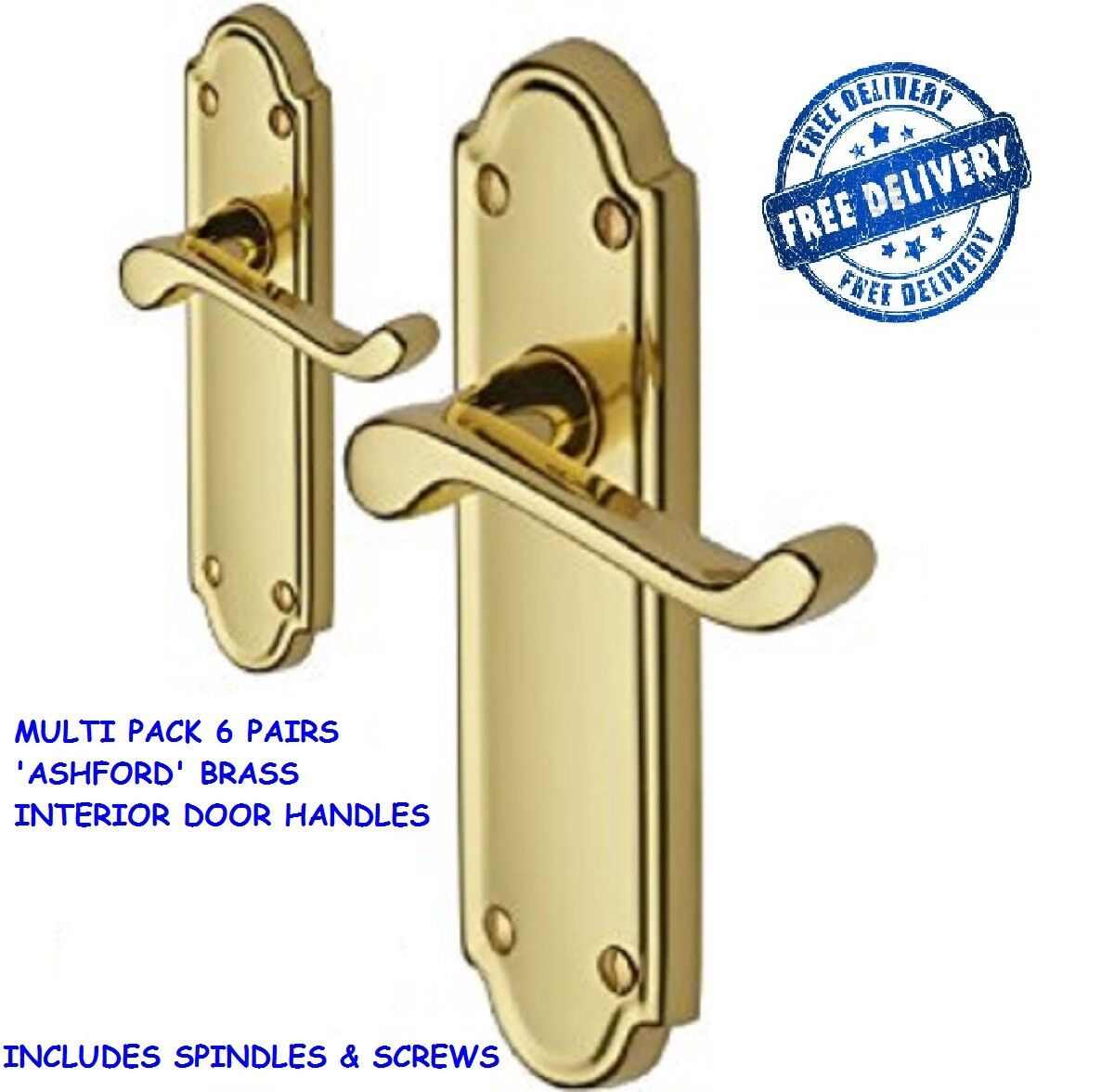 6 PAIRS of Polished Brass Internal Door Handles in 'Ashworth' Style  D12