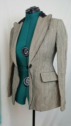 Small Pin Abbellished Bcbgmaxazria Career Coat Collar Lace Jacket Striped Blazer wq640nTg