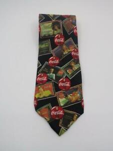 Details about Coca Cola Girls Vtg Advertising Posters Mens Necktie Tie Coke  Logo 100% Silk