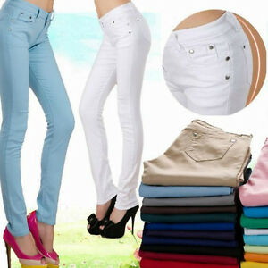 2019 Sexy Slim Women s Colored Skinny Jeans Stretch Pants Low Rise ... 6f3b7eb5893
