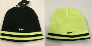 1cef0220 Nike NWT Youth Boys Beanie Hat REVERSIBLE Black Yellow One Size fits ...