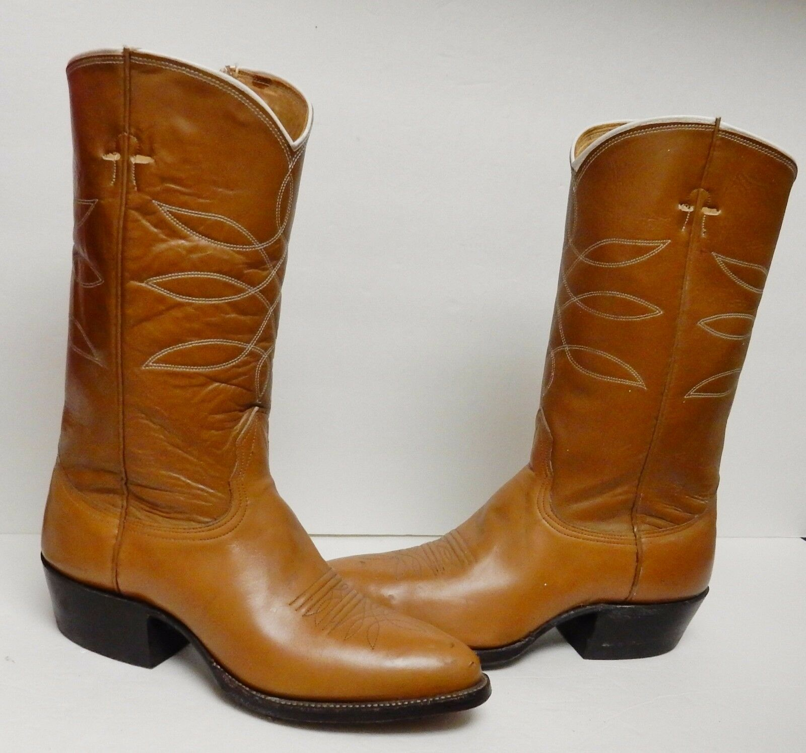 Nocona Leather Boots Cowboy Western Rodeo Tan Caramel 8.5 D